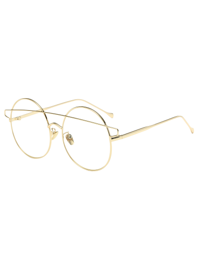 Transparent Lens Crossover Round Sunglasses - GOLDEN  Mobile