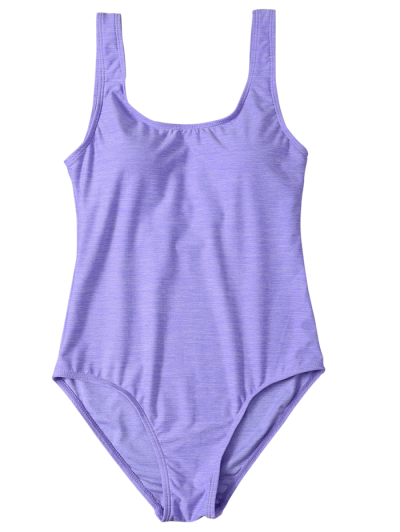 Backless Straps Padded Swimwear - PURPLE S Mobile