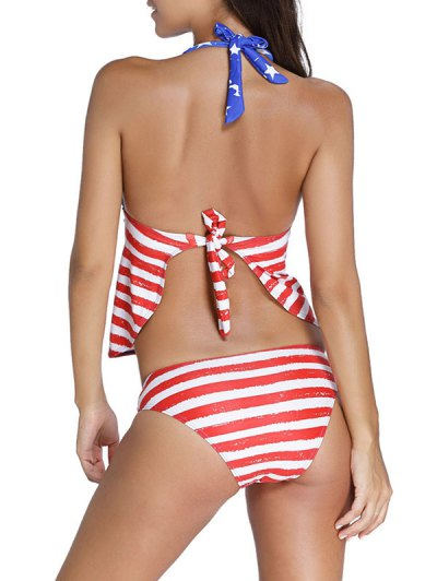Tied American Flag Print Halter Tankini Set - BLUE AND RED L Mobile