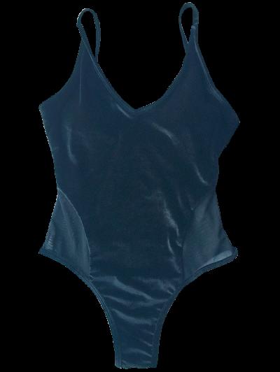 Mesh Panel Cami Velvet One Piece Swimwear - BLACK M Mobile