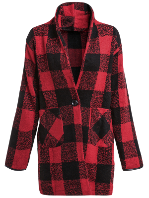 One Button Plaid Big Pocket Wool Coat - Red With Black