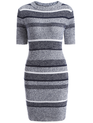 Short Sleeve Bodycon Sweater Dress