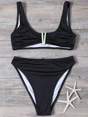 Parcheado De Talle Alto Set Bikini - Negro