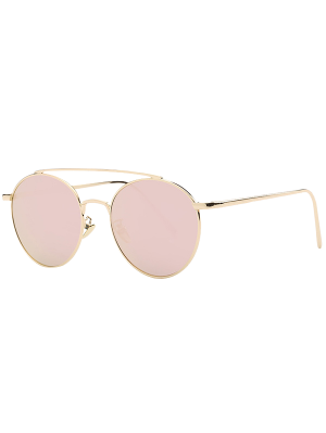 Metal Frame Mirrored Sunglasses - Rose Gold