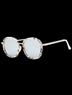 De Mármol De Gran Tamaño Gafas De Espejo - Blanco