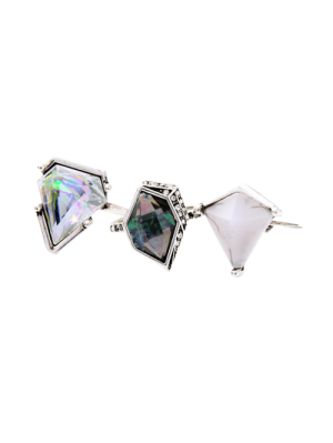 Geometric Faux Gem Ring Set - Silver