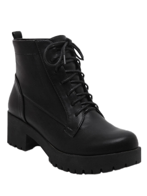 Black Lace-Up Chunky Heel Short Boots - Black