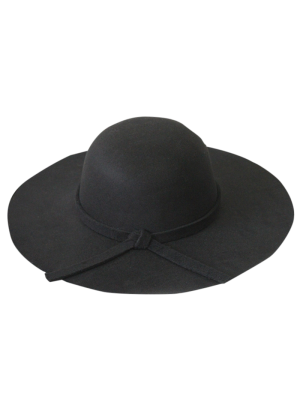 Solid Color Felt Floppy Hat - Black