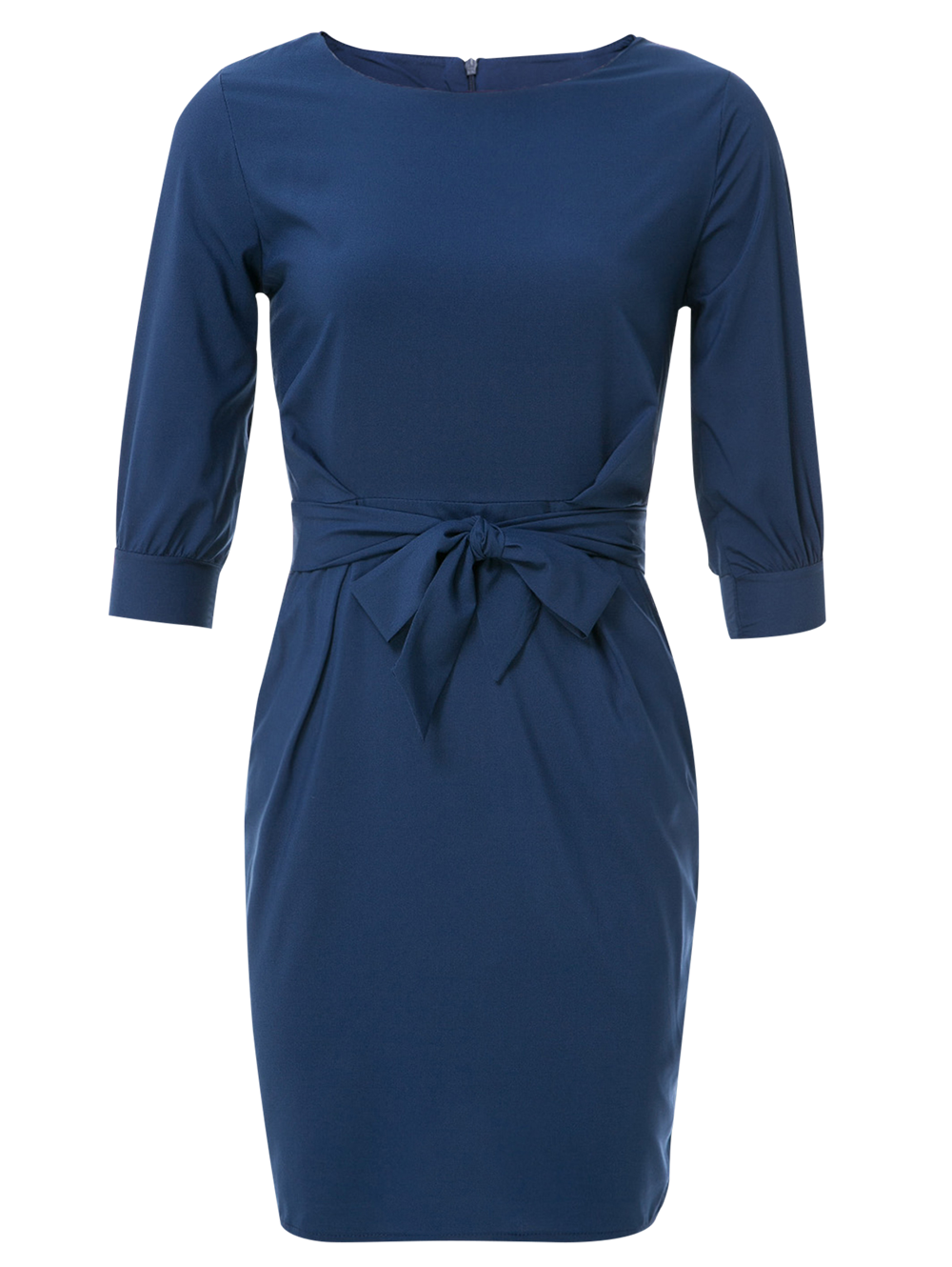 Boat Neck Sheath Dress With Belt