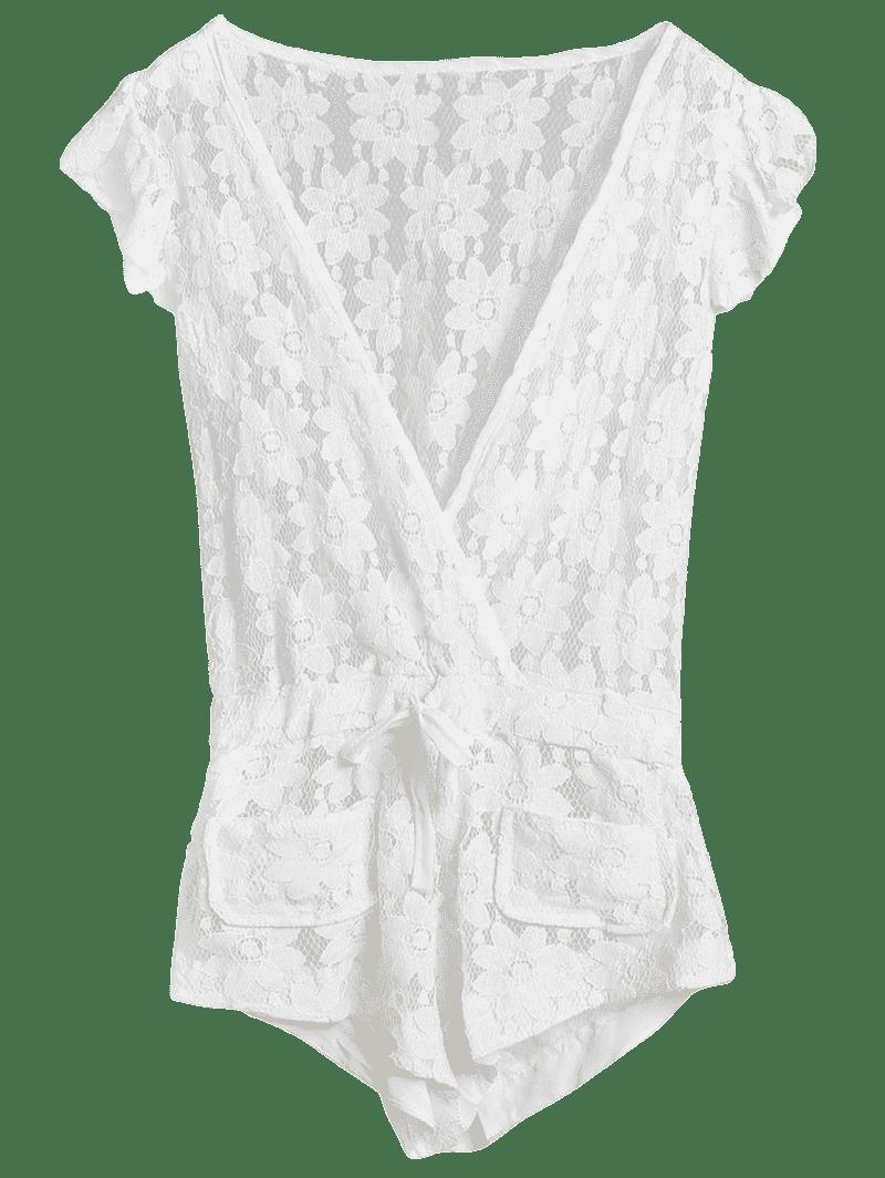 Deep V Neck Crochet Flower Romper Cover-Up - WHITE M