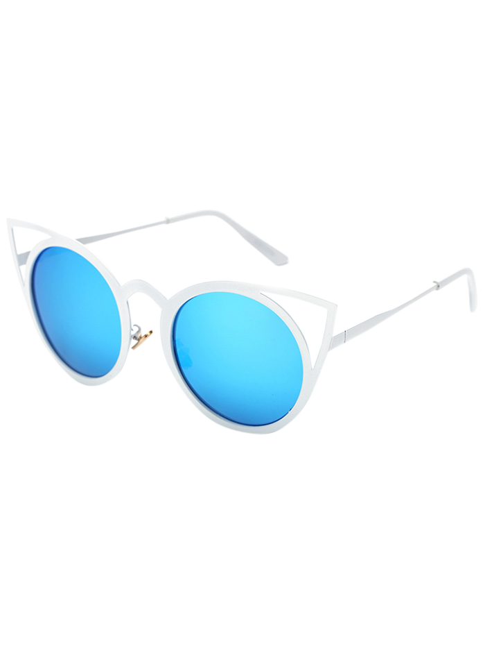 Cut Out White Cat Eye Mirrored Sunglasses