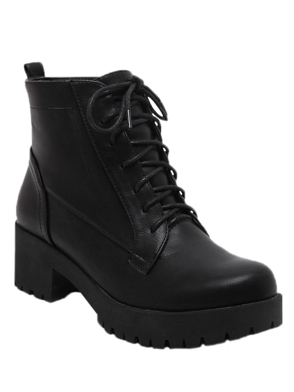 Black Lace-Up Chunky Heel Short Boots BLACK: Boots | ZAFUL