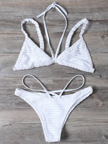Strappy Bralette Swimsuits - White S