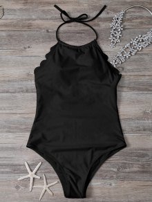 Scalloped High Neck Swimwear - Black