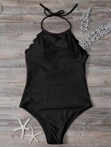 Scalloped High Neck Swimwear - Black