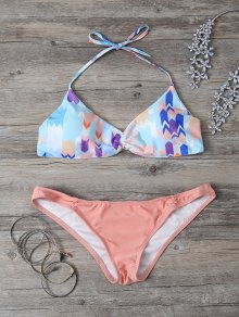 Cute Printed Halter Bikini Set - Orange