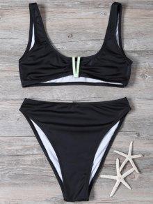 Patched High Waisted Bikini Set - Black