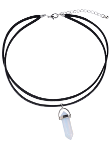 PU Leather Rope Faux Crystal Pendant Necklace - White