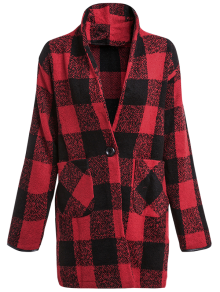 One Button Plaid Big Pocket Wool Coat