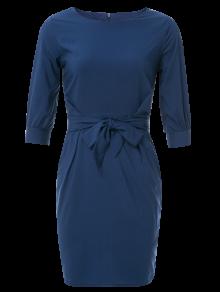 Boat Neck Sheath Dress With Belt - Purplish Blue Xl