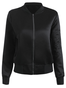 Zip-Up Bomber Jacket - Black