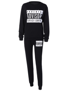 Letter Sweatshirt And Drawstring Sports Pants - Black S