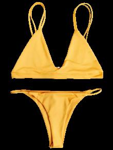 Low Waisted Spaghetti Straps Bikini Set - SWEET ORANGE M