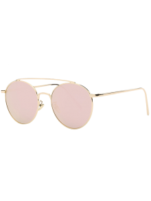 Metal Frame Mirrored Sunglasses - Rose Gold