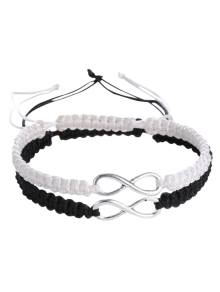 Infinity Woven Bracelets - White And Black
