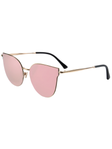 Street Fashion Golden-Rim Cat Eye Sunglasses - Pink