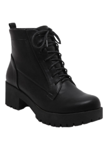 Black Lace-Up Chunky Heel Short Boots