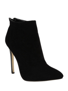 Pointed Tie Flock Zipper Ankle Boots - Black