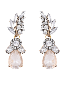 Water Drop Leaf Rhinestone Earrings - White