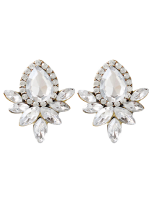 Water Drop Rhinestone Artificial Crystal Earrings - White