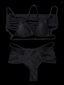 Cutout Strappy Bikini Swimwear - Black M