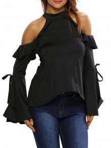 Bell Sleeve Cold Shoulder Ruffles T-Shirt