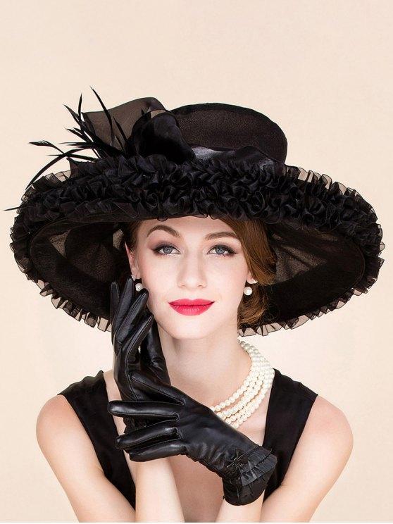 shop Stylish Feather Ruffle Edge Design Wedding Banquet Party Black Church Hat - BLACK