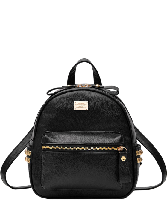 Metal Rivets Zippers PU Leather Backpack BLACK: Bags | ZAFUL