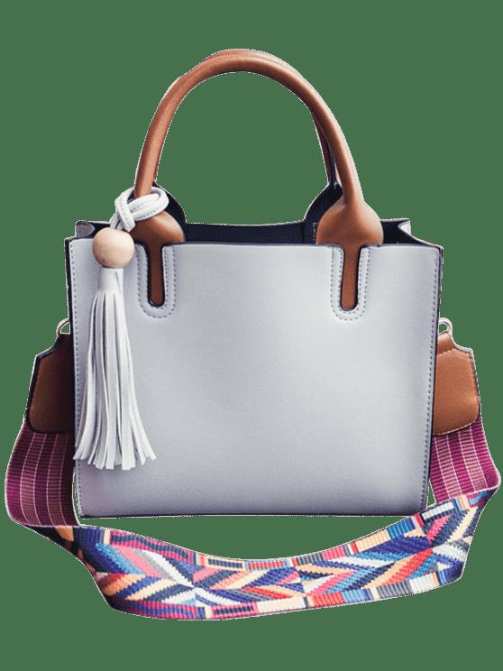 affordable Tassels Color Block Bead Tote Bag - LIGHT GRAY