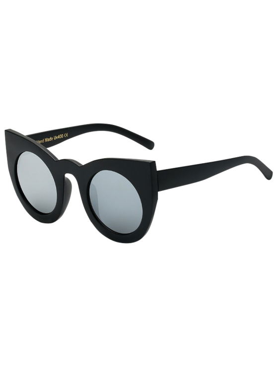 shop Round Lens Mirrored Cat Eye Sunglasses - BLACK