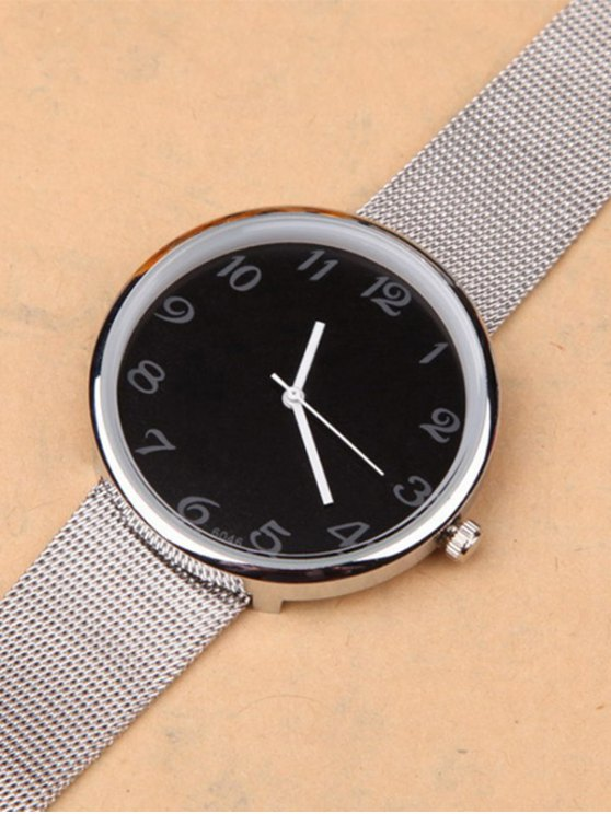 Alloy Circle Dial Plate Quartz Watch - BLACK  Mobile