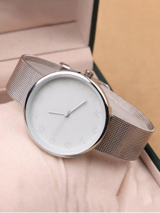 Alloy Circle Dial Plate Quartz Watch - WHITE  Mobile
