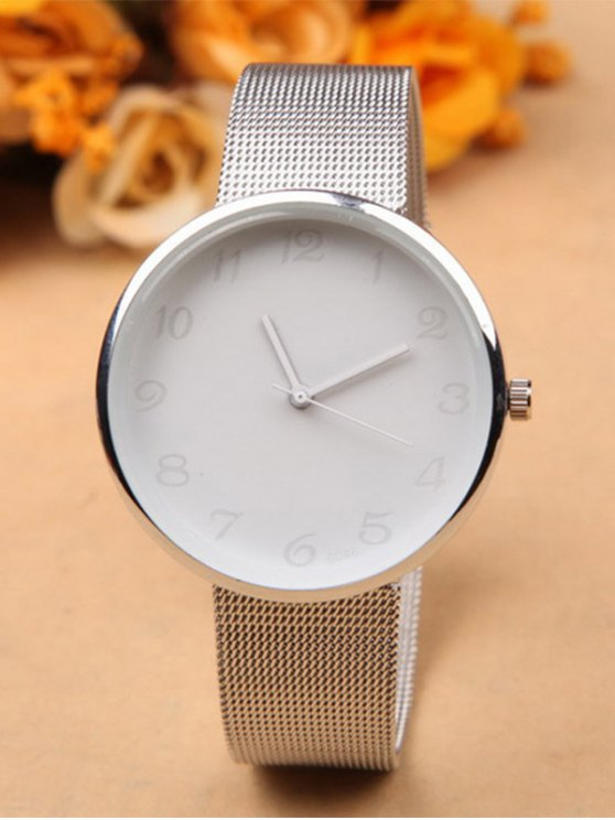Alloy Circle Dial Plate Quartz Watch - Blanco