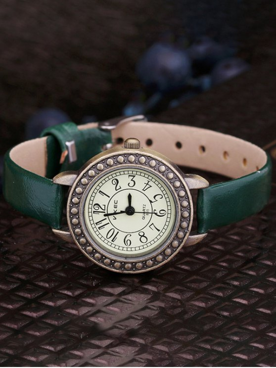 Faux Leather Alloy Watch - GREEN  Mobile