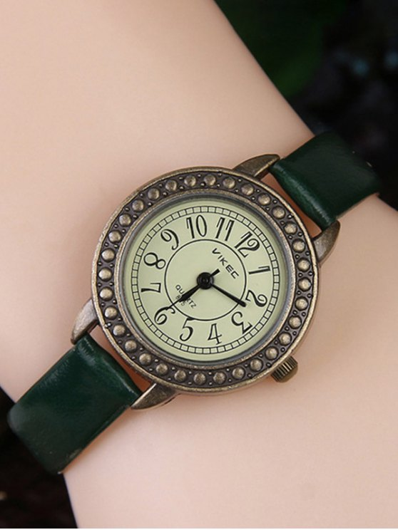 lady Faux Leather Alloy Watch - GREEN