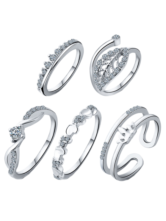 Crown Leaf Wedding Jewelry Rings - SILVER ONE-SIZE Mobile