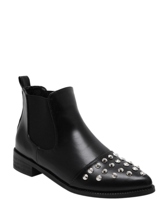Pointed Toe Rivets Elastic Band Ankle Boots - BLACK 39 Mobile