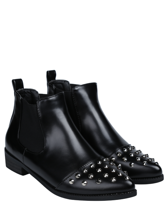 Pointed Toe Rivets Elastic Band Ankle Boots - BLACK 38 Mobile