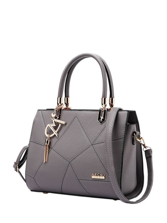fashion Textured Leather Metal Stitching Tote Bag - GRAY