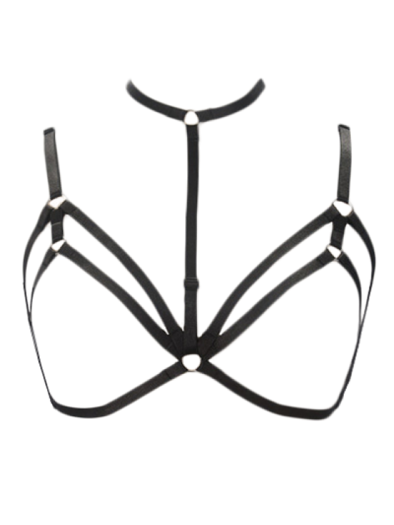 Bra Bondage Harness Layered Body Jewelry - BLACK  Mobile